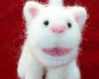 Snowy the cat, Needle felted, Handmade, Soft sculpture
