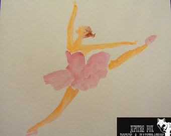 Original Watercolour Painting Of A Ballerina