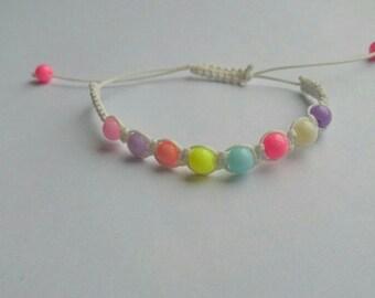 Pastel and white shamballa bracelet