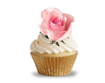 Dusky Pink Rose Flower Pre Cut Cupcake Toppers
