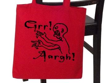 Grr Aargh - screenprinted canvas tote bag by PopShocked