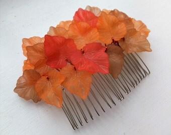 Orange Leaf hair comb, Autumn hair comb