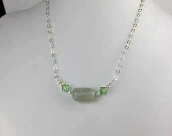 Natural Agate, Swarovski Crystal, and Sterling Silver Necklace - FREE SHIPPING