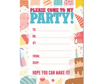 Pack Of 16 A6 Kids Birthday Invite Party Invitations With Fun Cake Design
