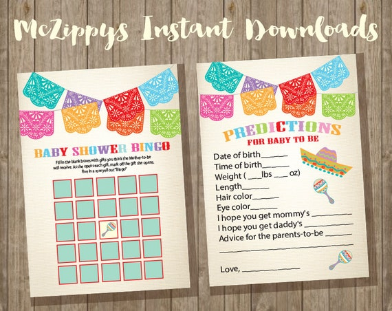 Mexican Fiesta Baby Shower Games, Baby Shower Bingo And Baby Predictions  With Banner On Antique Linen Background INSTANT DOWNLOAD