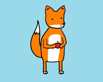 Fox on Blue Art Print