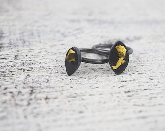 Slim Oxidised Silver + Gold Leaf Ring - Sterling Silver Ring - Resin Ring - Gold Leaf Ring - Contemporary Ring
