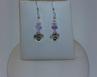 Sterling Silver Paw Print  and Lavender Swarovski Crystals Hook Earrings