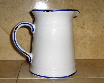White With Blue Trim Pitcher