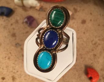 Vintage Turquoise,Lapis & Malachcite Navajo ring size 8.5
