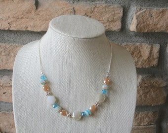 Tan and Sky Blue Necklace