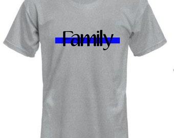 Blue line family shirt