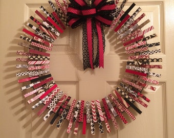 Black, white & red clothespin wreath