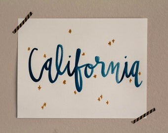 California / 8.5 x 11 Handmade Watercolor