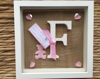 Personalised new baby or christening frame gift with hessian back ground and pink spotty initial