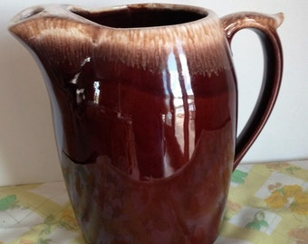 Vintage Nelson McCoy Brown Drip Ice Lip Pitcher, #7011, Made in U.S.A., Hull Pottery - Item #1009
