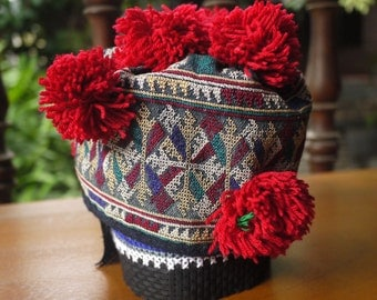 Antique vintage Yao baby hat - asian tribal textile - old traditional Yao child's hat