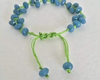 Aquamarine Rondelle Faceted Bracelet