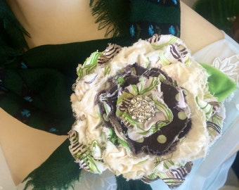 Brown and Green Hand Crafted Fabric Flower Pin/ Hair Clip