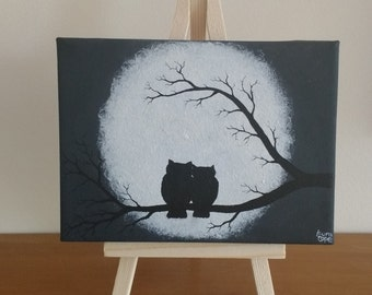 Abstract Original Acrylic on Mini Canvas Owls on a Branch Whimsical Silhouette Moon with Small Mini Easel Painting Art