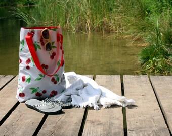 colorful shopper - bag - tote bag -hand bag - mexico market bag from oilcloth, vintage pattern