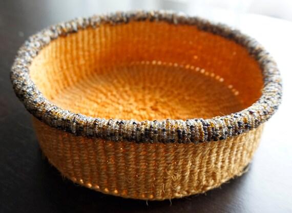 Handmade Jute Baskets : African jute baskets with glass beads by beyonddesignstudio