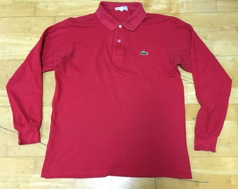 Lacoste Long Sleeve Polo Shirt Red Made in Japan T