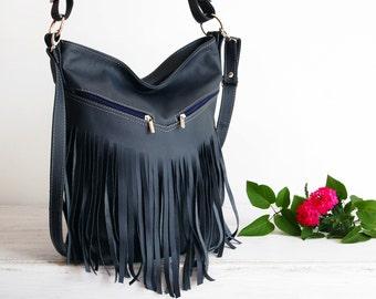 Leather Fringe Hobo Bag, Fringe Bag, Bag with Tassels, Large Cross Body Bag, Leather Handbag, Purse, Large Tote, Navy Blue Leather Hobo Bag