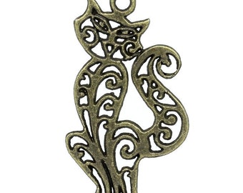 Pendant charm cat chiseled bronze x 2