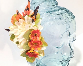 Fall flowers and feather hair fascinator clip