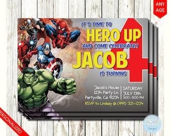 Super Hero Birthday Invitation, Super Hero Invitation, Superhero Invitation, Hero Invitation, Hero Party, Superhero Birthday