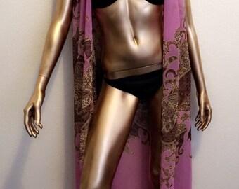 Rose Sleeveless Full Length Chiffon CoverUp