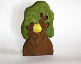 Waldorf wooden Tree with owl  Wooden Puzzle  eco friendly  educational Infant Learning  toys  toddler gift  Handcrafted  forest fairy tale