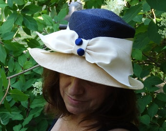 Blue and Natural Straw Hat with Big Bow by Joe Bill Miller USA