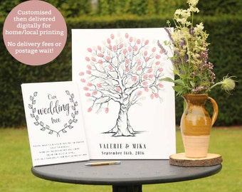 Hand Drawn Fingerprint Wedding Tree, Thumb Print Guest Book, Wedding guest book alternative, Guest book fingerprint tree, Tree sketch art