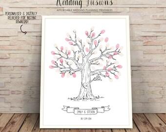 Printable wedding Tree, unique guest book, wishing tree, wedding tree printable, Wedding Tree, finger print tree, Wedding Guest Book,