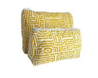 Yellow Wood Block printed geometrical toiletry