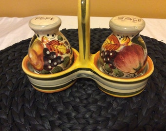 Vintage Hand Painted Salt and Pepper Shakers with Stand