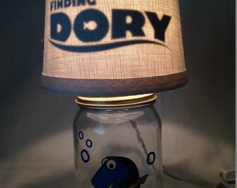 Mason jar small lamp, nightlight - Finding Dory influenced