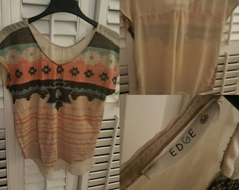 Aztec Print Blouse with Sheer Back sz. M