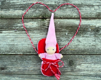 Waldorf doll, doll in bag, natural toy,  waldorf toy, steiner doll,small doll,pocket doll,  hand made pink dolls, pink doll, tiny doll