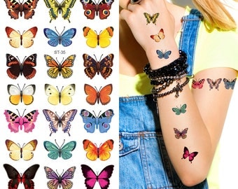 Supperb® Temporary Tattoos - 21 Small Butterflies Tattoo