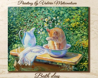 Red Cat, Kitten, Village, Bath day, Cat painting, Animals painting, Bright painting, Cute, Baby, Gift, Children, Ginger cat, Positive, Sunny