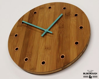 Bamboo and Copper Wall Clock With Coloured Hands