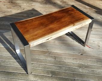 Custom Blackwood and Stainless Steel Coffee Table