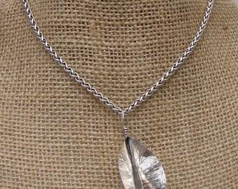 Argentium Silver Leaf Pendant