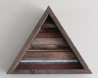 Triangle Reclaimed Wood Wall Art, Rustic Barn Wood, Handmade
