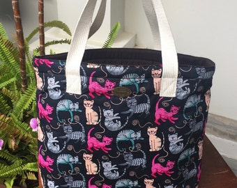 Cutie cats mixed colors print handmade bag