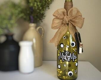 Mr&Mrs/Wine Bottle Light/Black White/Fairy Lights/ Battery Operated/Recycled Glass Bottle/Couples Gift/Wedding Gift/Wine Lovers Gift