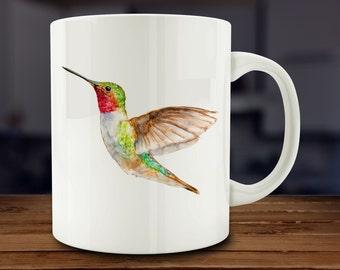 Hummingbird Mug, Watercolor Hummingbird Coffee Mug, Kitchen Art (A171-rts)